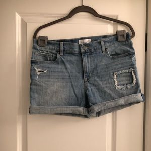 Ann Taylor LOFT Jean Shorts Patch Holes
